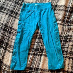 Blue leggings capri glitter justice size 10